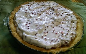 The red currants look like jewels nestled in this meringue.