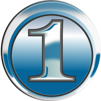 Number Icon Blue Chrome