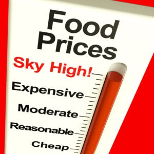 Food Prices High Monitor Showing Expensive Grocery Costs